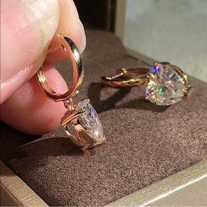 New  Gold plated diamond Heart Drop Hoop earrings